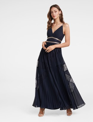 Ever New Kayla Spliced Lace Pleated Maxi Dress