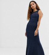 Little Mistress Petite embellished neck pleated maxi dress in navy