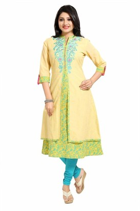 Unifiedclothes Women Indian Long A-Line Kurti Tunic Embroidery Kurta Shirt Dress Yellow MM185 (UK 16|Bust 40"