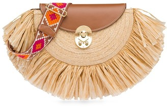 Miu Miu Fringed Raffia Shoulder Bag