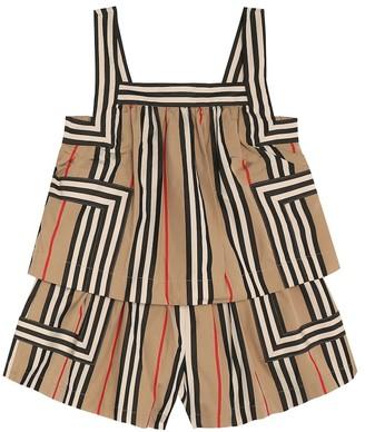 BURBERRY KIDS Florence Icon Stripe cotton playsuit