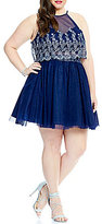 Teeze Me Plus Faux-Two-Piece Glitter Pattern Party Dress