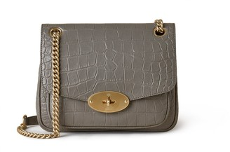 Mulberry Small Darley Shoulder Bag Charcoal Soft Printed Croc