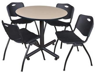 "Symple Stuff Marin 42"" Round 5 Piece Breakroom Table and Chair Set Table Finish: Beige, Chair Finish: Black"
