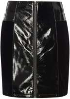 Black Leather Look and Velvet A-Line Skirt