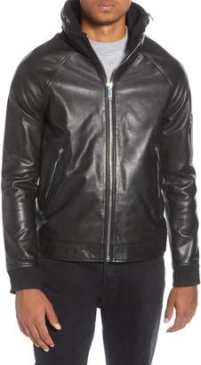Karl Lagerfeld Paris Stand Collar Leather Jacket