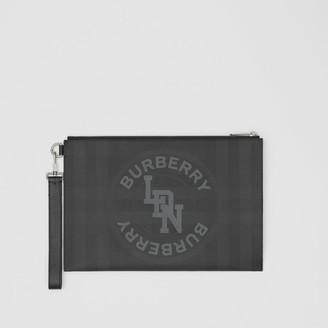 Burberry Logo Graphic London Check Zip Pouch
