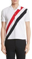Thom Browne Men's Stripe Pique Polo