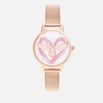 Olivia Burton Women's You Have My Heart Lucky Bee Watch - Silver & Rose Gold Mesh