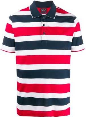 Paul & Shark Short Sleeve Block Stripe Polo Shirt