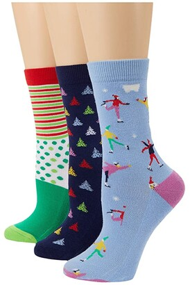 Pact Premium Organic Cotton Crew Socks 3-Pack (Snowboarders/Merry Stripe Dot/Heather Grey Snowflake) Women's Crew Cut Socks Shoes