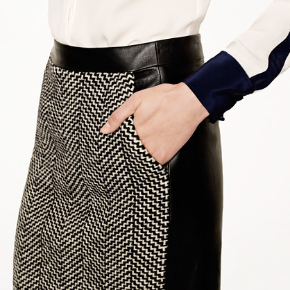 J.Crew Collection leather and tweed pencil skirt