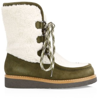 Aquatalia Wynter Suede & Shearling Platform Boots