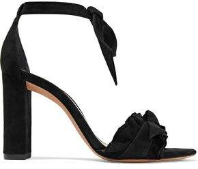 Alexandre Birman Lupita Ruffled Knotted Suede Sandals