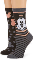 Asstd National Brand 2 Pr Mickey Mouse Giftable Crew Socks - Womens