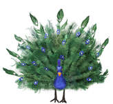 Asstd National Brand 17 Colorful Green Regal Peacock Bird with Open Tail Feathers Christmas Decoration