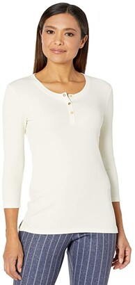 Lauren Ralph Lauren Cotton-Blend Henley Tee (Mascarpone Cream) Women's Clothing