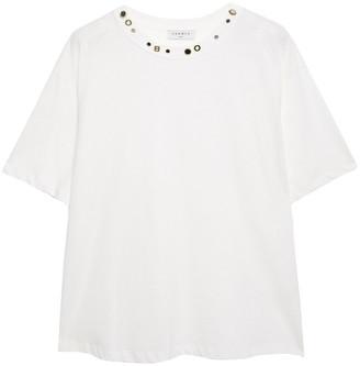 Sandro Studded Cotton-jersey T-shirt