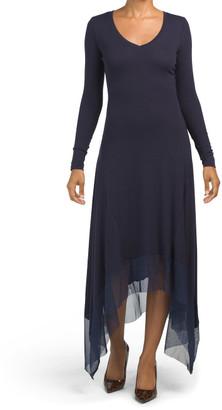 Long Sleeve Knit Mesh Dress