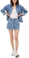 Topshop Petite Women's Jake Fray Hem Denim Miniskirt