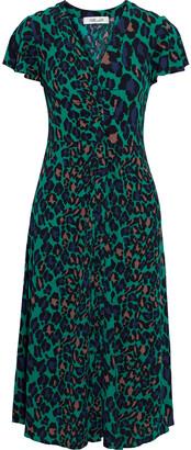 Diane von Furstenberg Cecilia Ruched Printed Crepe Midi Dress