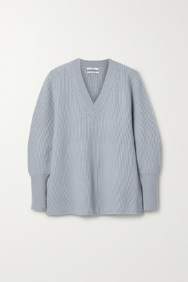 Co Ribbed Wool And Cashmere-blend Sweater - Blue