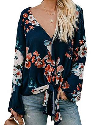 Actloe Women Casual Long Sleeve Sexy V Neck Tops Tie Knot Front Floral Blouses and Shirts Plus Size
