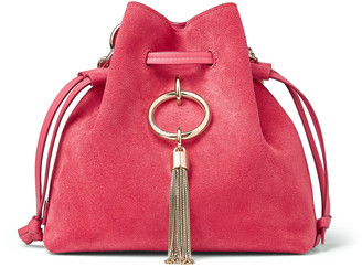 Jimmy Choo CALLIE DRAWSTRING/S Bubblegum-Pink Suede Bucket Bag with Chain Strap