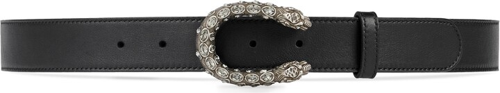Thumbnail for your product : Gucci Leather belt with crystal Dionysus buckle