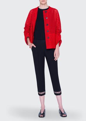 Akris Punto Jacket Mesh Lace Round-Neck Jacket