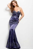 Jovani 40760 Embroidered Strapless Trumpet Dress