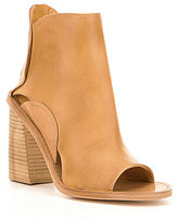 Free People Phoenix Leather Peep Toe Stacked Block Heel Booties