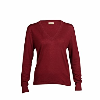 Asneh Mathilda Cabernet Cashmere V Neck Sweater In Fine Knit