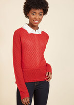 ModCloth Sweetest Subtleties Long Sleeve Top in Red in XXS