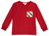 Burberry YNG Long-Sleeve Check-Pocket Jersey Tee, Size 4-14