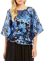 Alex Evenings Petite Asymmetrical Tiered Floral Blouse