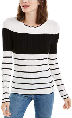 Maison Jules Striped Colorblocked Sweater