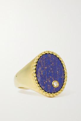 Yvonne Léon 9-karat Gold, Lapis Lazuli And Diamond Signet Ring - 3