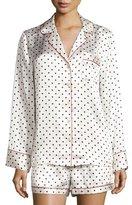 Neiman Marcus Polka-Dot Shorty Pajama Set, Dot/Red Trim