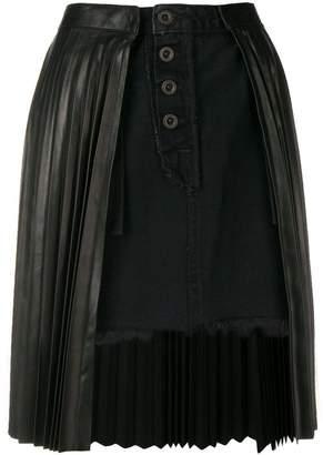 Unravel Project pleated denim skirt
