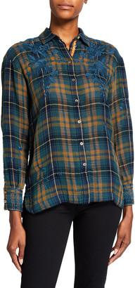 Johnny Was Zhenya Plaid Button Sleeve Shirt
