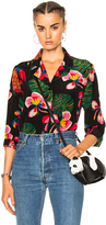 Valentino Tropical Dream Blouse in Black,Floral,Green,Red.