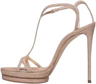 Casadei Pink Glitter Sandals
