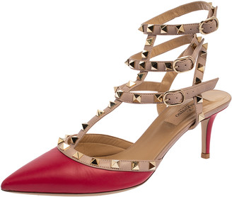 Valentino Dark Pink/Beige Leather Rockstud Caged Pointed Toe Sandals Size 38
