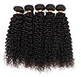 Vinsteen 5 Pieces 500g Tangle-Free Kinky Curly Natural Color Human Hair Weaves Brazilian Texture Unprocessed Human Hair Extensions Hair Wefts (5pcs 30 inch)