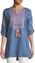 Tolani Megha Embroidered Denim Tunic, Plus Size