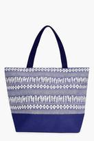 Boohoo Sophia Feather Print Beach Bag