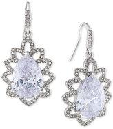 Carolee Silver-Tone Crystal Teardrop Ornate Drop Earrings