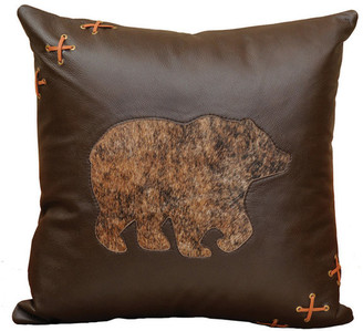 Wooded River Gallop Bear Cutout Pillow, 18x18 with Fabric Back