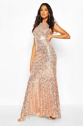 boohoo Bridesmaid Occasion Extreme Sequin Low Back Maxi